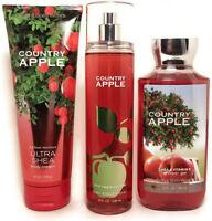 Bath Body Works COUNTRY APPLE Fragrance Mist Body Cream Shower Gel Woman SET 3