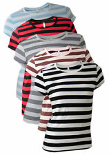 Unbranded Women's Striped Cotton Short Sleeve Sleeve Tops & Shirts