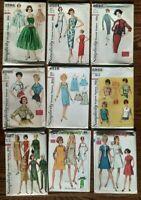 Vintage Lot (9) 1960's Patterns SIMPLICITY Size 14- Rockabilly? Uncut / FF - #24