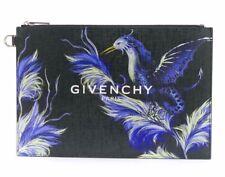 Givenchy Paris Black White Logo Purple Printed Phoenix Bird Zip Pouch Clutch Bag
