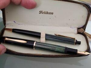 PELIKAN 140 FOUNTAIN PEN 14k GOLD EF NIB / PELIKAN 350  SET + leather zip case