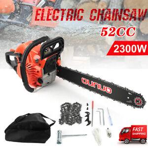 """52cc 20"""" Petrol Chainsaw 2-Stroke Engine Tree Cutter Wood Pruning Heavy Duty UK"""