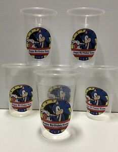 18 x Personalised Sonic The Hedgehog Birthday Party Cup Stickers Decorations