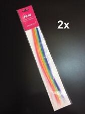 2x PS4U Rainbow Clip-In Synthetic Hair Extensions Highlights Party Clip On BNWT