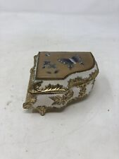 Vintage Metal Music Box Piano Shaped With Butterflies On Top