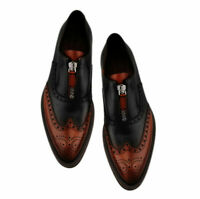 Handmade Men Oxfords Formal Black Brown Two Tone Brogue Zip Leather Dress Shoes