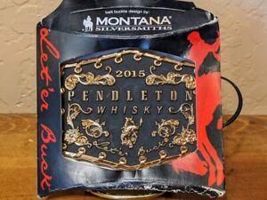 2015 PENDLETON WHISKY WHISKEY BELT BUCKLE MONTANA SILVERSMITHS COWBOY RODEO NFR