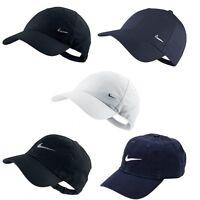 Mens Nike Swoosh Metal Sports Cap Golf Baseball Adjustable Hat White Navy Black