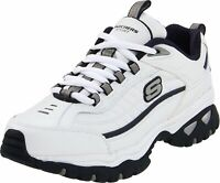 Skechers Mens Energy-After Burn Low Top Lace Up Running, White/Navy, Size 11.5 j