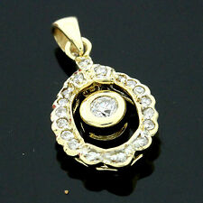 9ct Yellow Gold Fancy C/Z Pendant Hallmarked