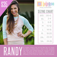 NEW LuLaRoe Mystery Randy Top shirt Baseball style Tee 2XS - 3XL RETAIL $35