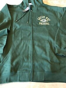 Majestic Green Bay Packers Football Hoodie Mens Size 2XL Full Zip Jacket Pockets