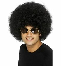 Mens Womens Quality Fancy Dress 70's Disco Afro Funky Curly Clown Wig Black Fun