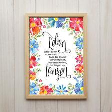 Im Regen Tanzen Kunstdruck A4 Blumen Shabby Chic Spruch Geschenk Wandbild Deko