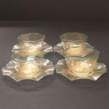 RARE Set of 4 Galliano FERRO Venetian Glass Dessert Bowls w/ Plates Murano ITALY