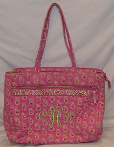 "Vera Bradley Large Purse Handbag Pink Paisley Embroidered 16 1/2"" x 13"" x 3"""