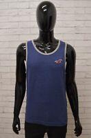Maglia HOLLISTER Uomo Taglia Size M Maglietta Canotta Shirt Man Cotone Blu Slim