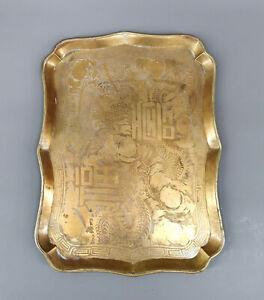 99839113 Chinesisches Tablett mit Drachen Gravur 36x27cm