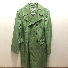 Womens Michael Kors Light Olive Green Lined Long double brested Rain Coat Sz LG