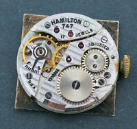 Vintage Hamilton 17J 747 Wrist Watch Movement for Parts or Repairs #W151