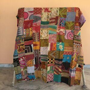 Kantha Quilt Single Cotton Vintage Throw Blanket Multi Design Indian Handmade