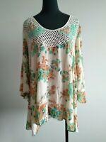 Alice McCall Cream Mint Floral Crochet Flowy Top Blouse AU 14 US 10 XL