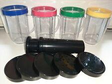 Lotto 4 bicchieri boccali Magic Bullet ricambi con anelli coperchi e pestello