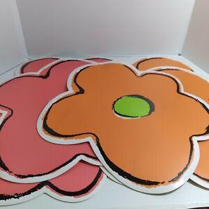 6 Pack Plastic Flower Mat Decoration Red & Orange