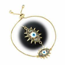 Lucky Evil Eye Turkish 18K Gold Plated Bracelet Cubic Zirconia Women Jewelry NEW