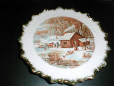 Currier & Ives Home in the Wilderness Winter Decorative Wall Plate Japan (Loc-49