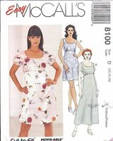 8100 UNCUT McCalls Vintage Sewing Pattern Easy Pullover Dress Empire Waist OOP