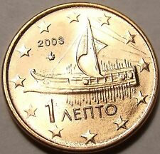 Gem Unc Greece 2003 1 Euro Cent~Ancient Athenian Trireme~Great Price~Free Ship