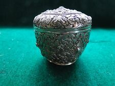 BOX, STERLING SILVER INDIA, CHASED & ENGRAVED BEAUTIFULLY, C-1860, MARKED DAC
