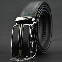 Fashion Men's Dress Genuine Leather Adjustable Waist Strap Belt Auto Lock Buckle