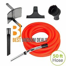 Central Vacuum Garage Kit 50 Foot Orange Hose and Accessories