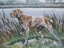 """German Shorthaired Pointer dog art canvas PRINT of lashepard painting gsp 12x16"""""""