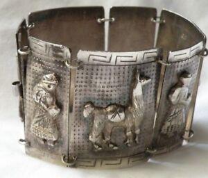 """Vintage Sterling PERU Llama Bracelet Hinged Panel 900 Sterling Silver 7.5"""" long"""
