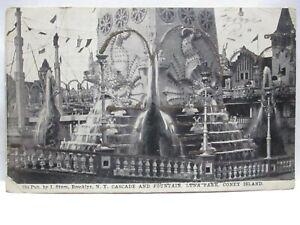 "1900 GLITTER PHOTO POSTCARD "" CASCADE & FOUNTAIN, LUNA PARK, CONEY ISLAND """