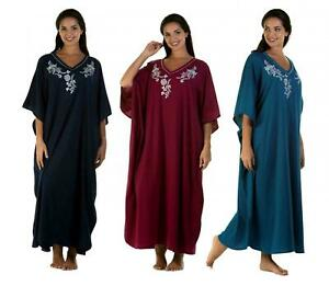 Kaftan Ladies Women's Embroidered Soft Jersey Cotton By La Marquise one size