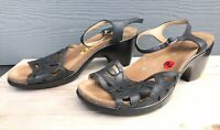 Dansko Floral Women's Open Toe Black Leather Heel Sandals Size US 9.5-10 / EU 40