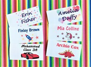Personalised Waterproof Sew In Name Labels/ Tags - Colour - Unicorn, Dinosaur