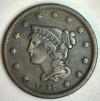 1841 Braided Hair Large Cent Copper VERY FINE US Type Coin 1c VF Penny