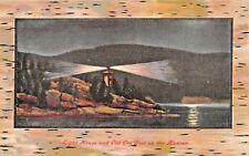 Hudson Fluss Ny ~ Licht Haus & Alt Cro 'Nest-Birchbark Gerahmt Postkarte 1910s