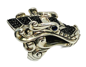 John Hardy Women's Legends Naga Black & Blue Sapphire Dragon Ring Silver Size 7