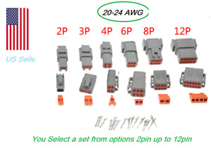 OEM Gray Deutsch DTM 2 3 4 6 8 12 Pin Connector Electrical Kit 20-24 AWG