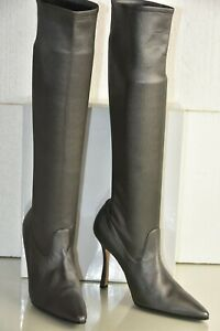 NEW Manolo Blahnik Knee High Boots STRETCH LEATHER Grey BB Heels Shoes 40