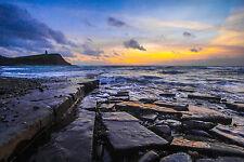 "Colorful Ocean Sunset Jurassic Coast Dorset England - 17"" x22"" Art Print - 00010"