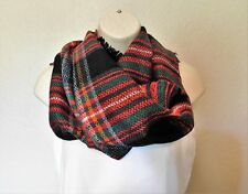 Infinity Blanket Scarf Tartan Red Green Black Texas Boutique 70 Inch Circle NEW