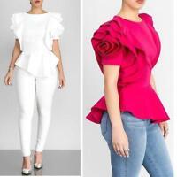 Women Fashion Summer Crew Neck Ruffles Sleeve Asymmetric Hem Casual Tops Blouse