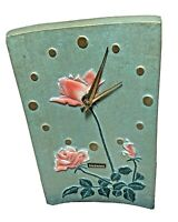 Vintage cast iron table clock green pink roses Toyo Japan made for Takenaka 7x5